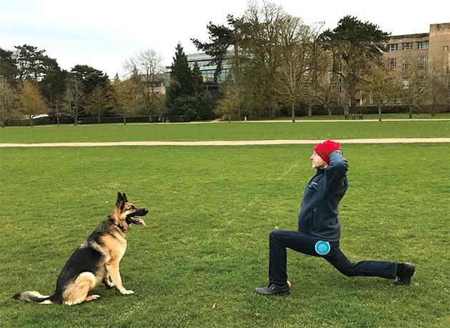 愛犬と公園で
